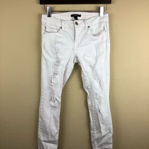 Forever 21 Womens Jeans, White Slim Distressed 26